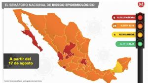 Semáforo Epidemiológico en México del 17 al 23 de Agosto 2020.